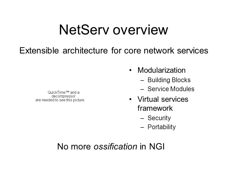 NetServ overview Modularization –Building Blocks –Service Modules Virtual services framework –Security –Portability Extensible architecture for core network services No more ossification in NGI