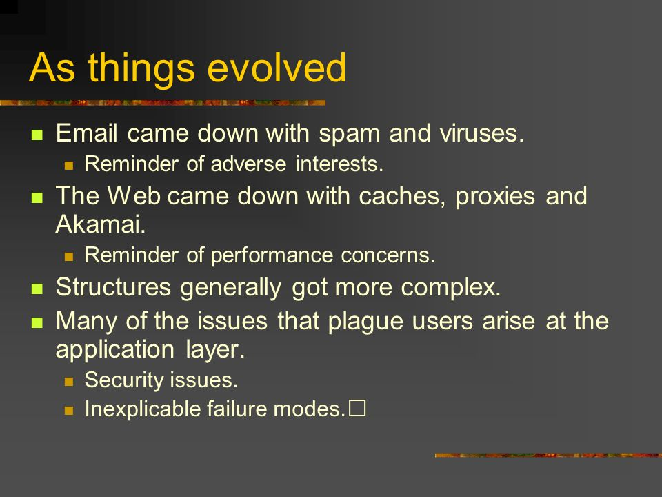 As things evolved Email came down with spam and viruses.