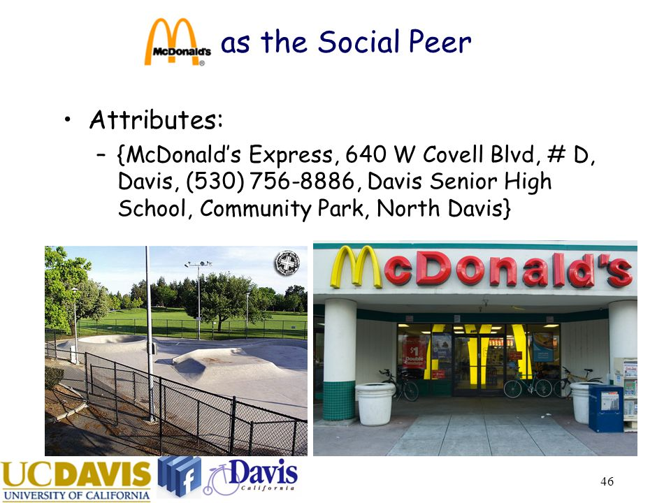 46 as the Social Peer Attributes: –{McDonalds Express, 640 W Covell Blvd, # D, Davis, (530) 756-8886, Davis Senior High School, Community Park, North Davis}