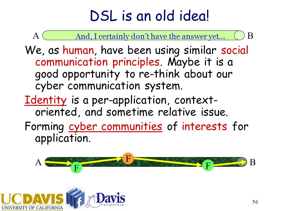 56 DSL is an old idea. We, as human, have been using similar social communication principles.