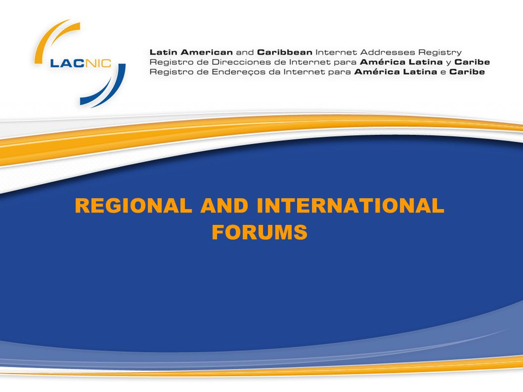 REGIONAL AND INTERNATIONAL FORUMS