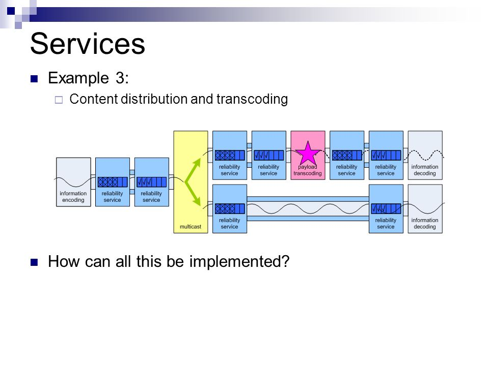 Services Example 3: Content distribution and transcoding How can all this be implemented