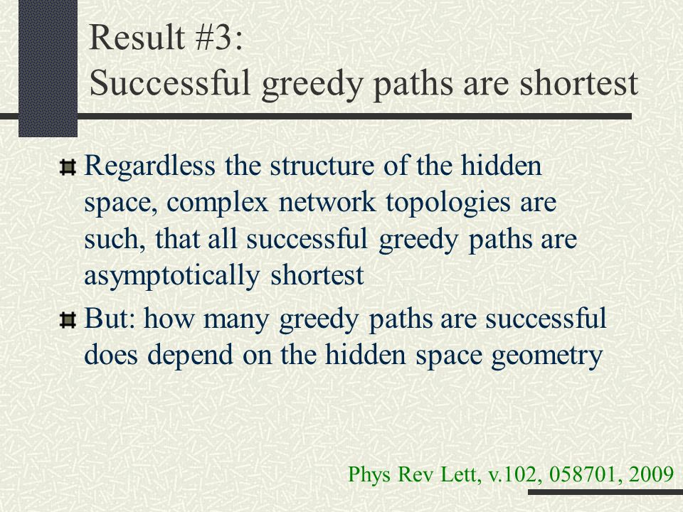 Result #3: Successful greedy paths are shortest Regardless the structure of the hidden space, complex network topologies are such, that all successful