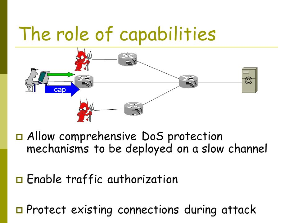 The role of capabilities Allow comprehensive DoS protection mechanisms to be deployed on a slow channel Enable traffic authorization Protect existing connections during attack cap