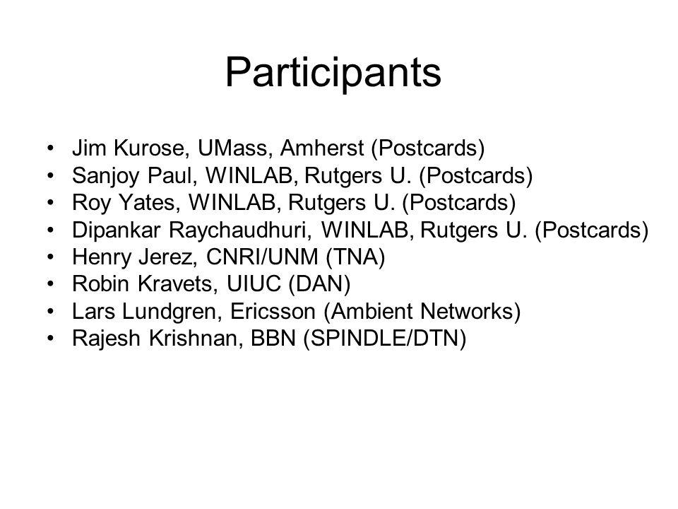 Participants Jim Kurose, UMass, Amherst (Postcards) Sanjoy Paul, WINLAB, Rutgers U. (Postcards) Roy Yates, WINLAB, Rutgers U. (Postcards) Dipankar Ray