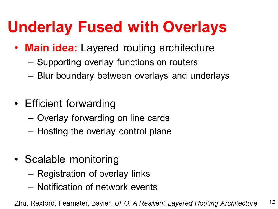 12 Underlay Fused with Overlays Main idea: Layered routing architecture –Supporting overlay functions on routers –Blur boundary between overlays and underlays Efficient forwarding –Overlay forwarding on line cards –Hosting the overlay control plane Scalable monitoring –Registration of overlay links –Notification of network events Zhu, Rexford, Feamster, Bavier, UFO: A Resilient Layered Routing Architecture