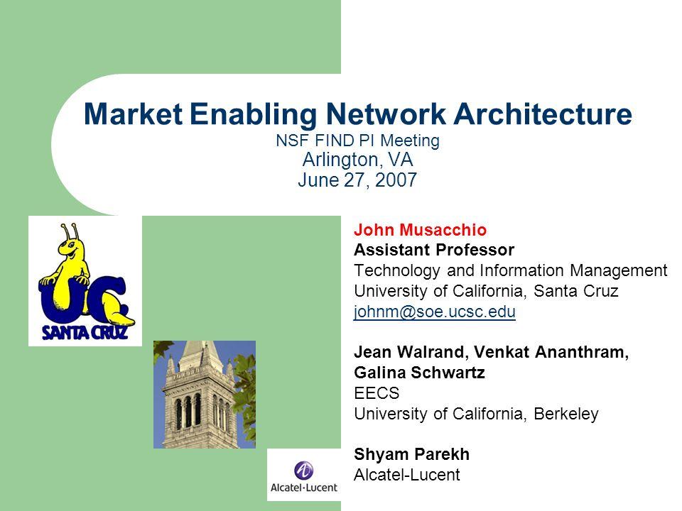 Market Enabling Network Architecture NSF FIND PI Meeting Arlington, VA June 27, 2007 John Musacchio Assistant Professor Technology and Information Management University of California, Santa Cruz johnm@soe.ucsc.edu Jean Walrand, Venkat Ananthram, Galina Schwartz EECS University of California, Berkeley Shyam Parekh Alcatel-Lucent