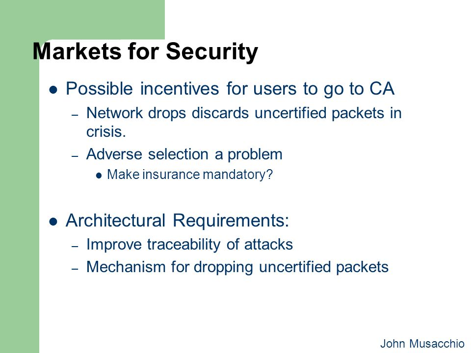 Markets for Security Possible incentives for users to go to CA – Network drops discards uncertified packets in crisis. – Adverse selection a problem M