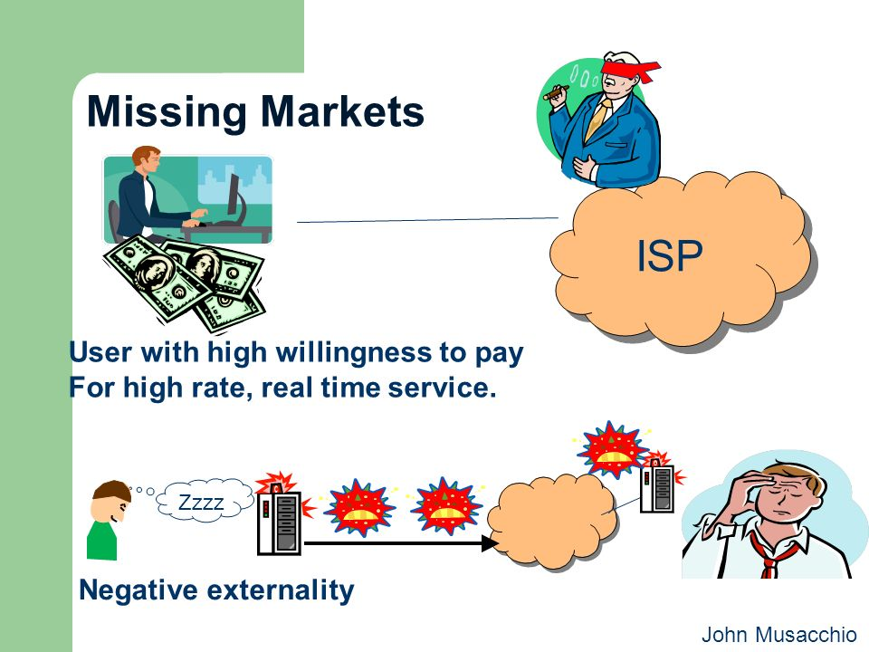 Missing Markets User with high willingness to pay For high rate, real time service. ISP Zzzz Negative externality John Musacchio