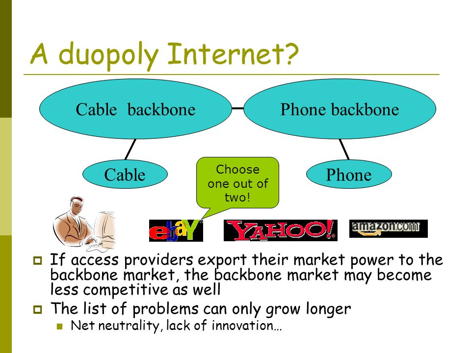 A duopoly Internet? CablePhone Cable backbonePhone backbone If access providers export their market power to the backbone market, the backbone market