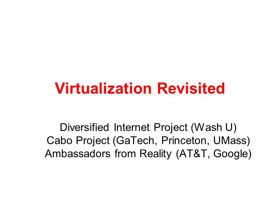 Virtualization Revisited Diversified Internet Project (Wash U) Cabo Project (GaTech, Princeton, UMass) Ambassadors from Reality (AT&T, Google)
