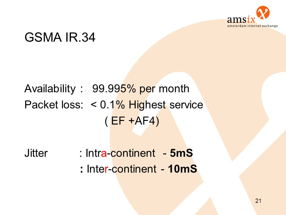 GSMA IR.34 Availability : 99.995% per month Packet loss: < 0.1% Highest service ( EF +AF4) Jitter : Intra-continent - 5mS : Inter-continent - 10mS 21