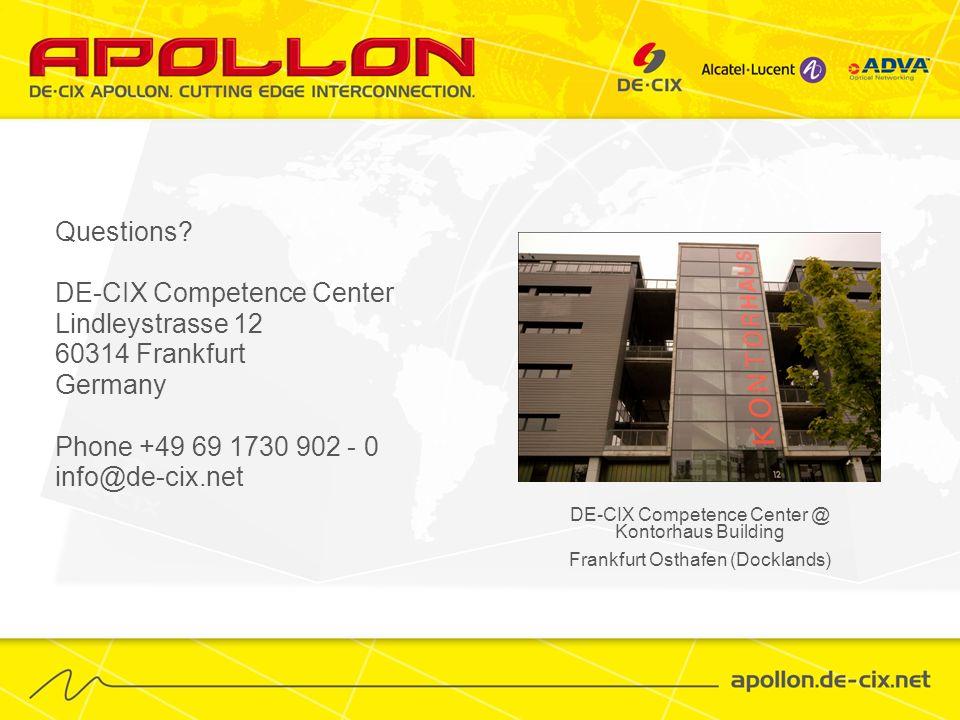 Questions? DE-CIX Competence Center Lindleystrasse 12 60314 Frankfurt Germany Phone +49 69 1730 902 - 0 info@de-cix.net DE-CIX Competence Center @ Kon