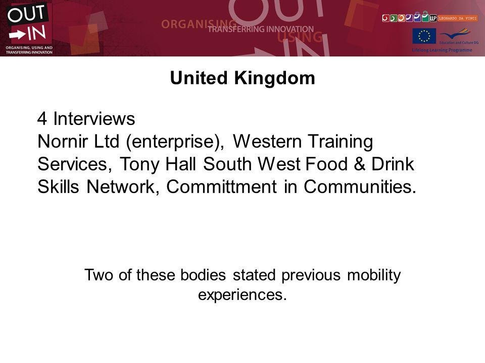 United Kingdom 4 Interviews Nornir Ltd (enterprise), Western Training Services, Tony Hall South West Food & Drink Skills Network, Committment in Communities.