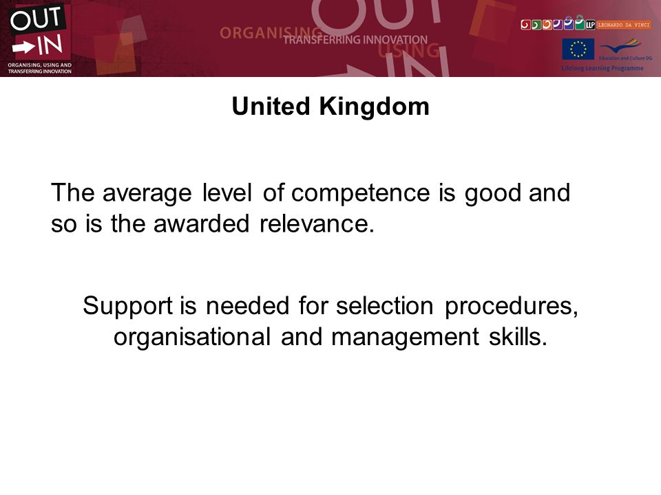United Kingdom The average level of competence is good and so is the awarded relevance.