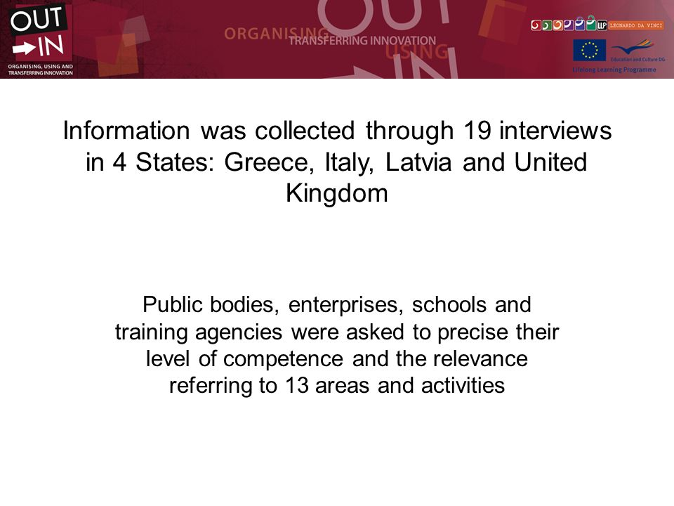 Information was collected through 19 interviews in 4 States: Greece, Italy, Latvia and United Kingdom Public bodies, enterprises, schools and training agencies were asked to precise their level of competence and the relevance referring to 13 areas and activities
