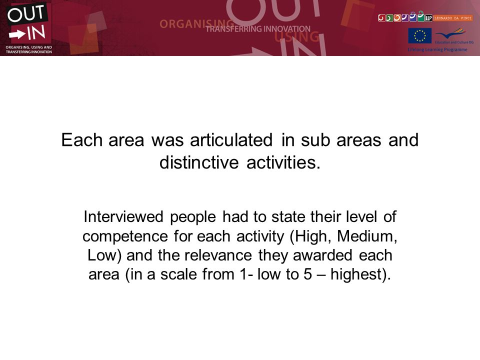 Each area was articulated in sub areas and distinctive activities.