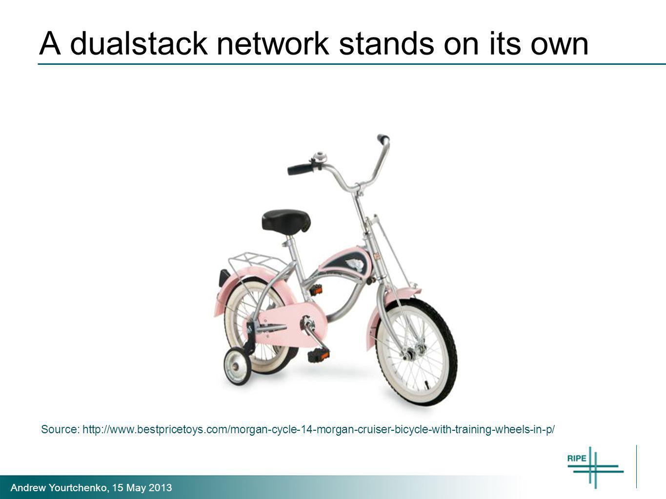 Andrew Yourtchenko, 15 May 2013 A dualstack network stands on its own Source: http://www.bestpricetoys.com/morgan-cycle-14-morgan-cruiser-bicycle-with-training-wheels-in-p/