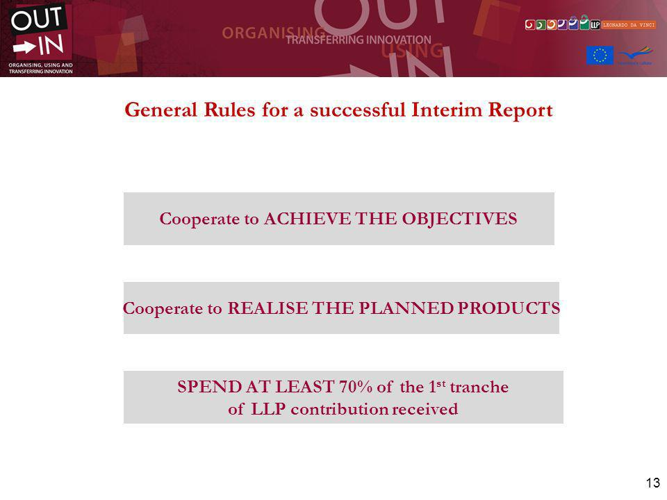 13 SPEND AT LEAST 70% of the 1 st tranche of LLP contribution received Cooperate to REALISE THE PLANNED PRODUCTS Cooperate to ACHIEVE THE OBJECTIVES G