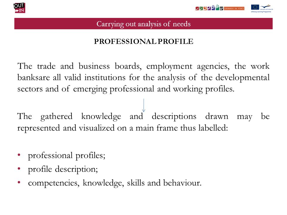 Carrying out analysis of needs PROFESSIONAL PROFILE The trade and business boards, employment agencies, the work banksare all valid institutions for the analysis of the developmental sectors and of emerging professional and working profiles.