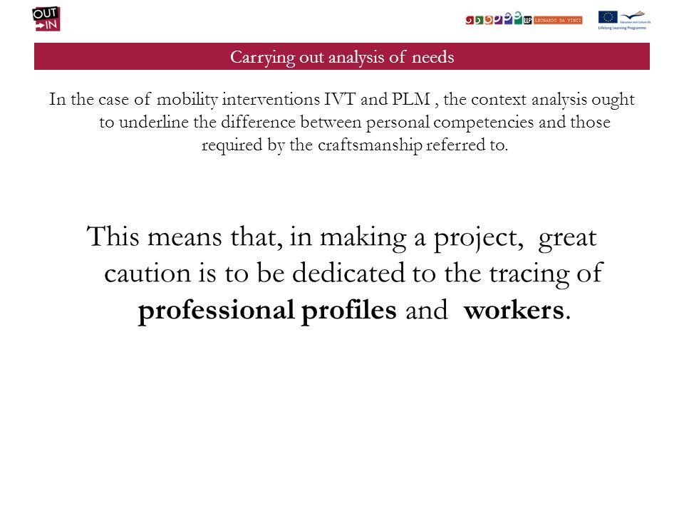Carrying out analysis of needs In the case of mobility interventions IVT and PLM, the context analysis ought to underline the difference between personal competencies and those required by the craftsmanship referred to.