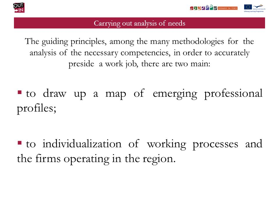 Carrying out analysis of needs The guiding principles, among the many methodologies for the analysis of the necessary competencies, in order to accura