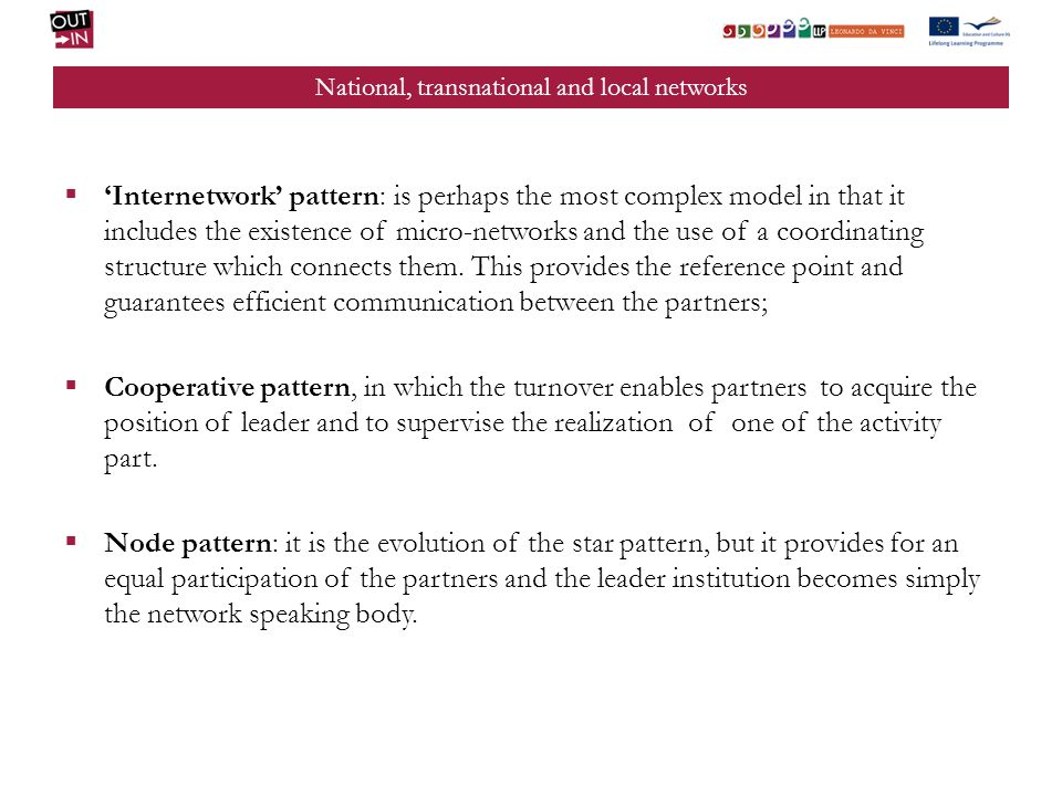 National, transnational and local networks Internetwork pattern: is perhaps the most complex model in that it includes the existence of micro-networks and the use of a coordinating structure which connects them.