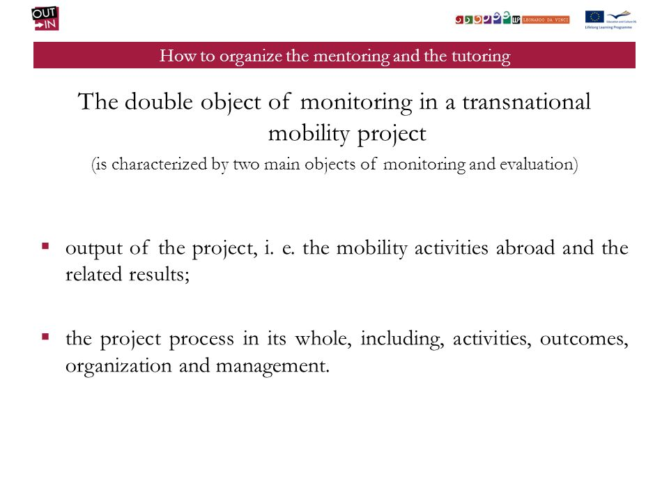 How to organize the mentoring and the tutoring The main roles for the correct realization of the monitoring activity are the following: THE MONITORING MANAGER; THE TUTOR OF THE SENDING ORGANIZATION; THE TUTOR OF THE HOST ORGANIZATION; THE FIRM TUTOR.