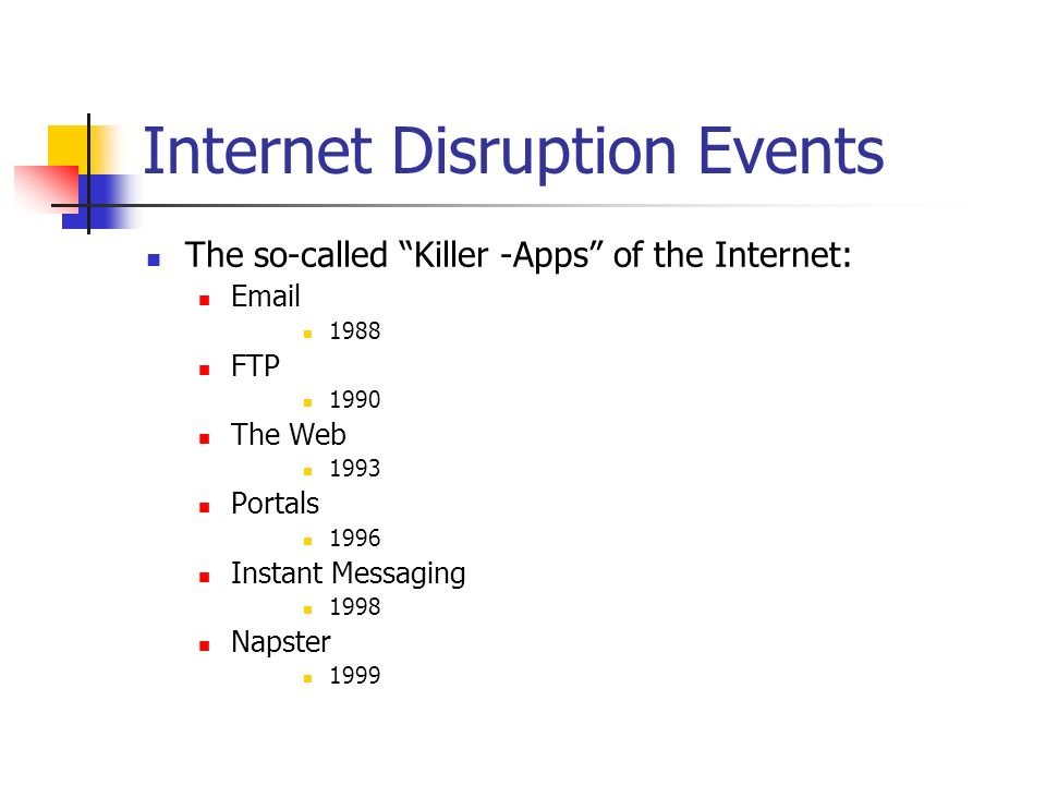 Internet Disruption Events The so-called Killer -Apps of the Internet: FTP 1990 The Web 1993 Portals 1996 Instant Messaging 1998 Napster 1999