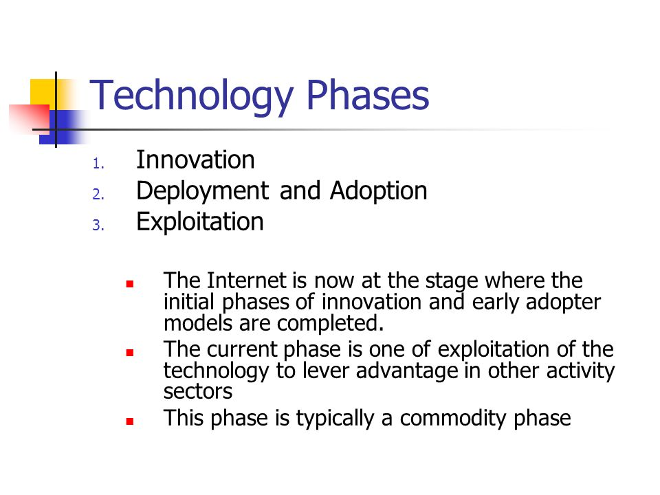 Technology Phases 1. Innovation 2. Deployment and Adoption 3.