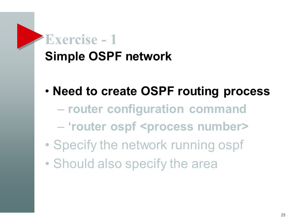 Exercise - 1 Simple OSPF network Need to create OSPF routing process – router configuration command – router ospf Specify the network running ospf Sho