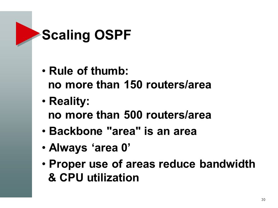 Scaling OSPF Rule of thumb: no more than 150 routers/area Reality: no more than 500 routers/area Backbone