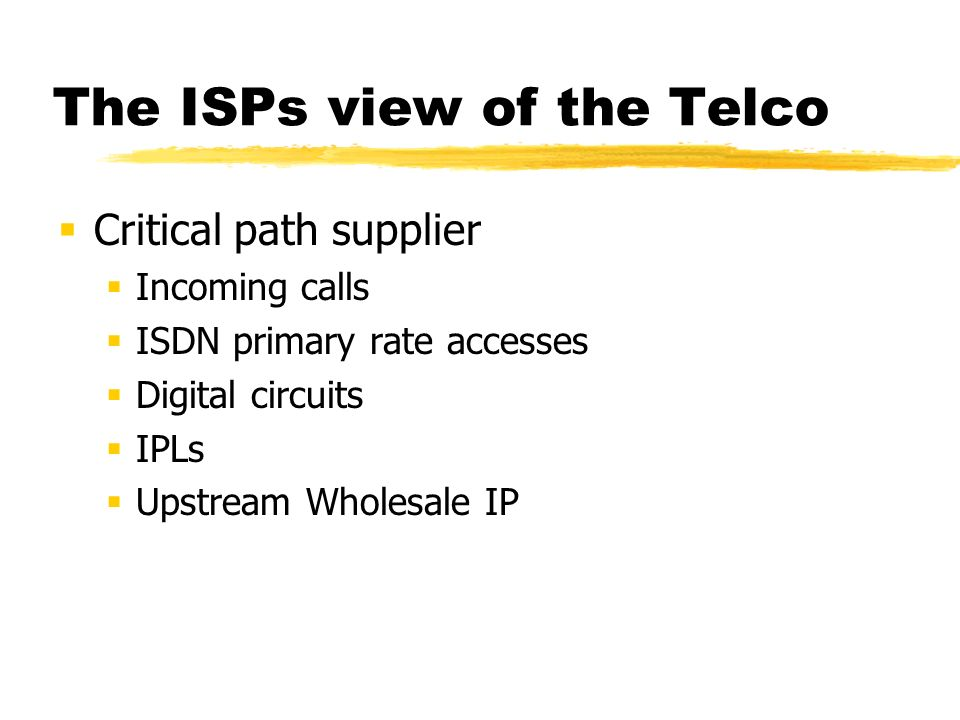 The ISPs view of the Telco incompetence or malice