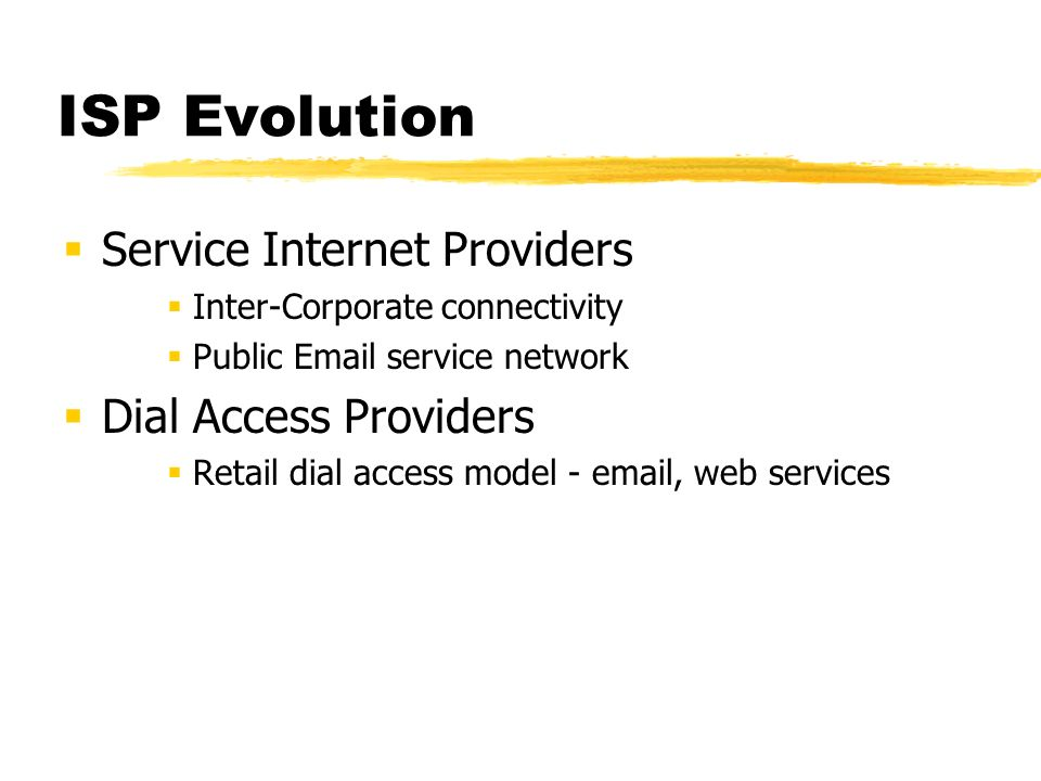 ISP Evolution From...