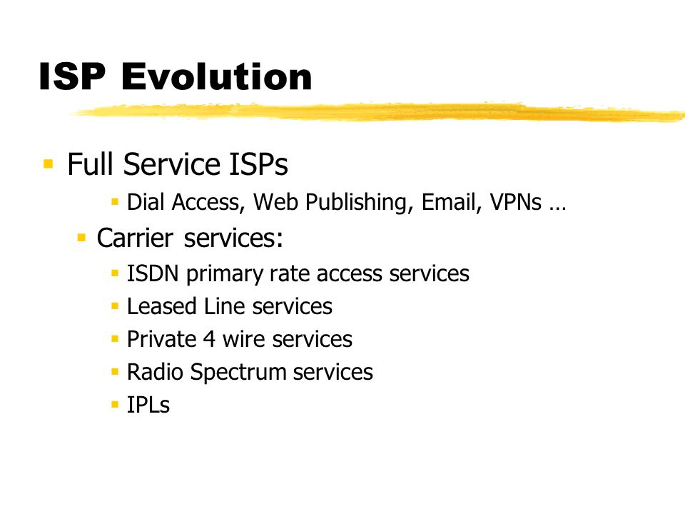 ISP Evolution Service Internet Providers Inter-Corporate connectivity Public Email service network Dial Access Providers Retail dial access model - email, web services