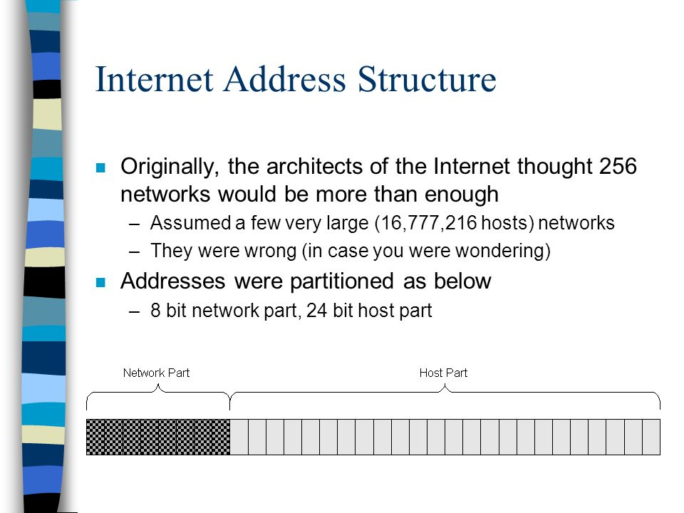 Internet Address Structure n Originally, the architects of the Internet thought 256 networks would be more than enough –Assumed a few very large (16,777,216 hosts) networks –They were wrong (in case you were wondering) n Addresses were partitioned as below –8 bit network part, 24 bit host part