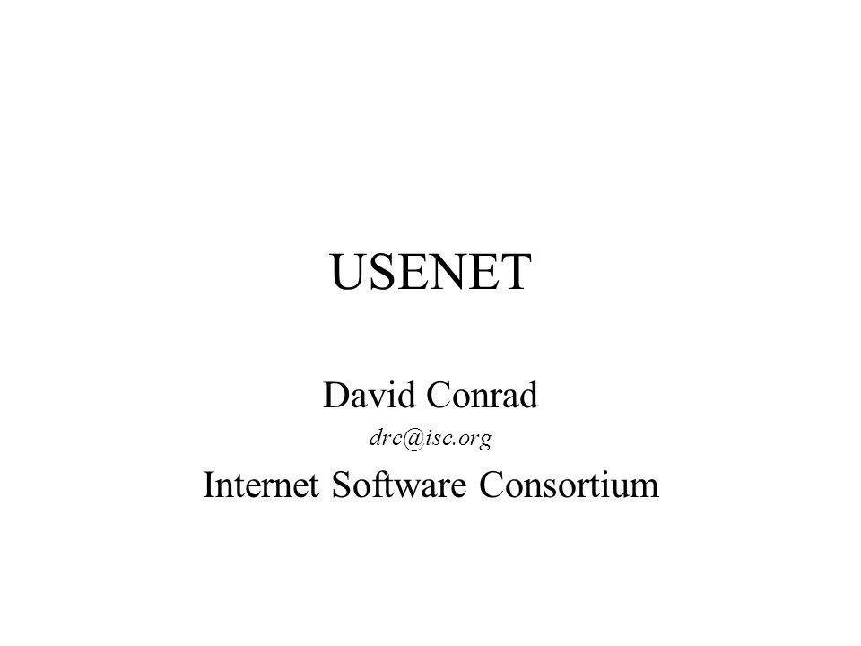 USENET Issues As with any service which provides content, inappropriate content can be found –Hateful literature, pornography, libel/slander –There are constant calls to censor this content ISPs often get caught in the middle –Easy targets –Little control –Technological advances may help content control issues USENET growth will continue to be an issue –New technology many help this as well