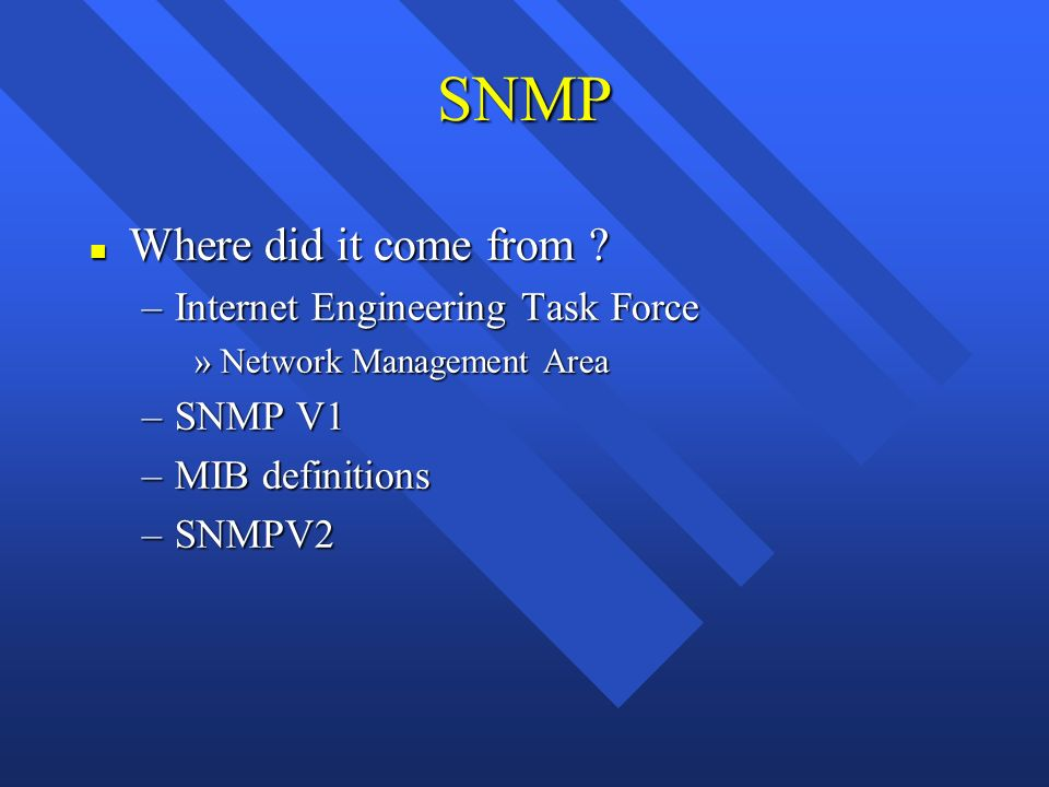 SNMP n Where did it come from .