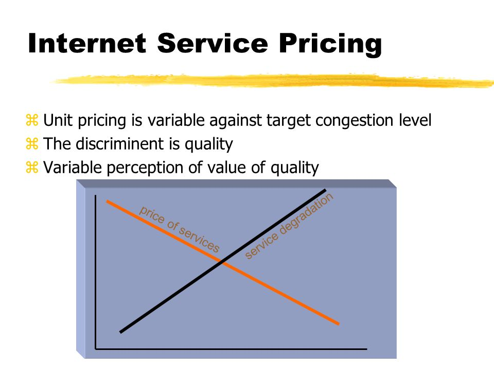 Internet Service Pricing zUnit pricing is variable against target congestion level zThe discriminent is quality zVariable perception of value of quality price of services service degradation
