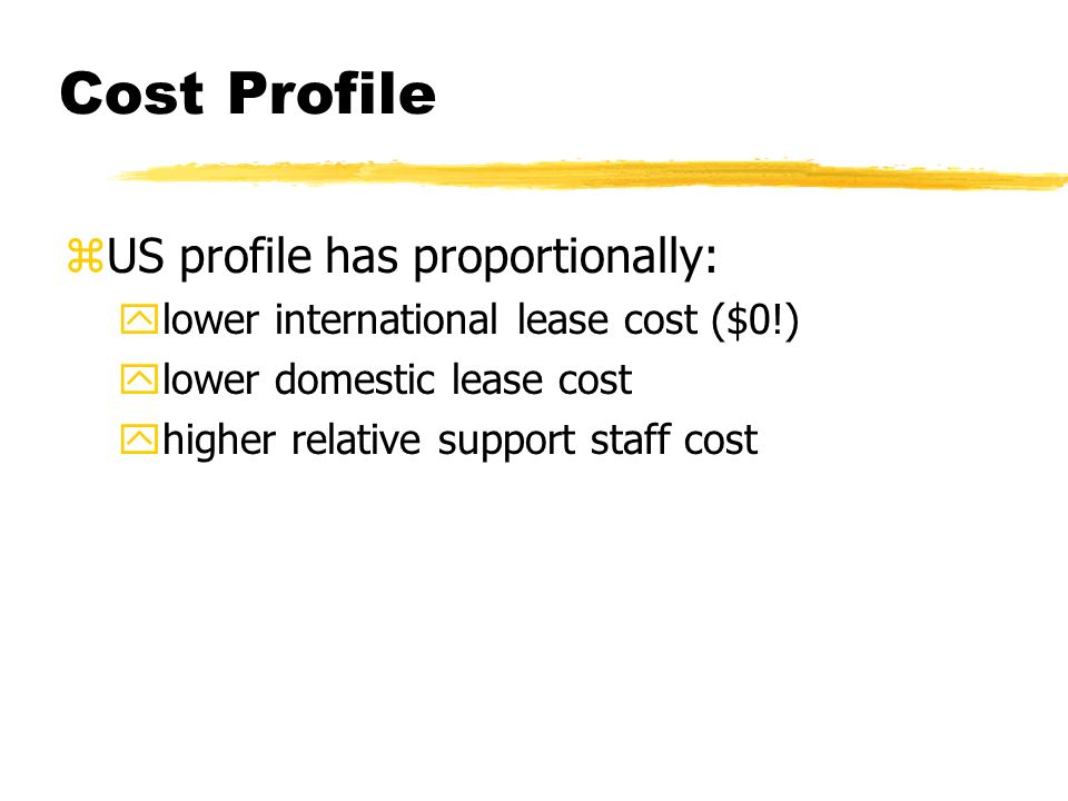 Cost Profile zUS profile has proportionally: ylower international lease cost ($0!) ylower domestic lease cost yhigher relative support staff cost