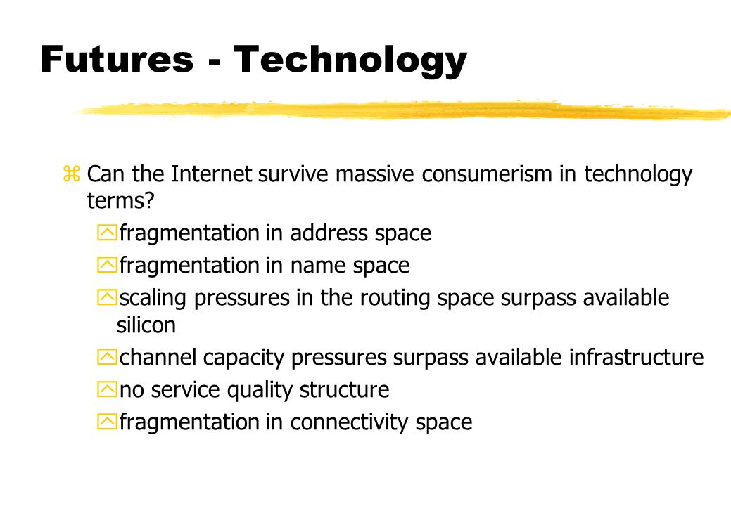 Futures - Technology zCan the Internet survive massive consumerism in technology terms.