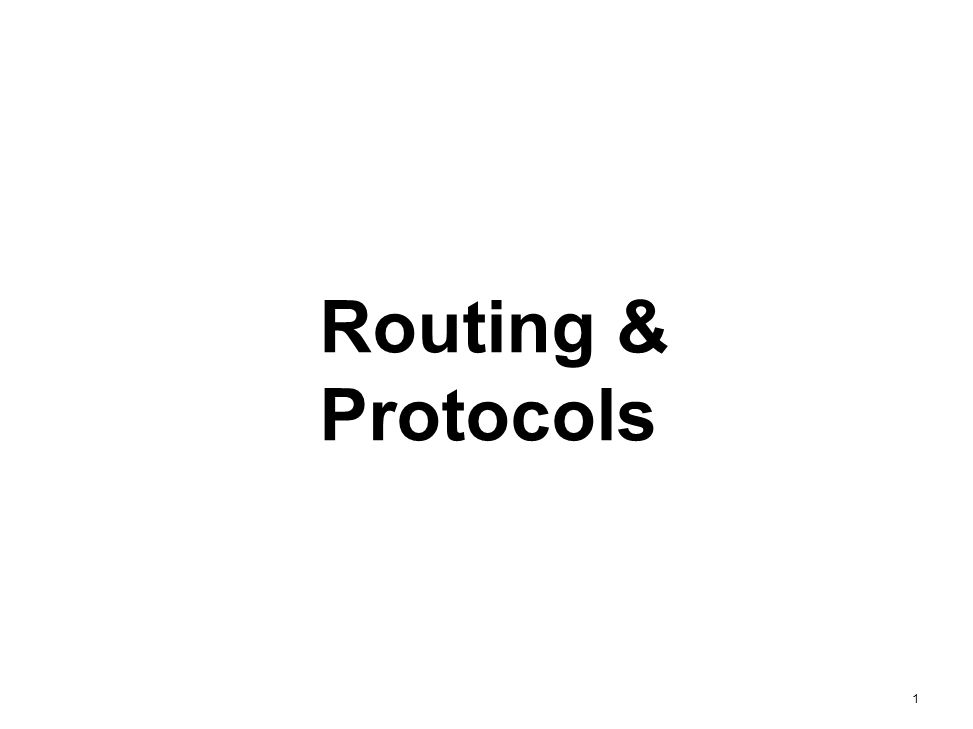 Routing & Protocols 1