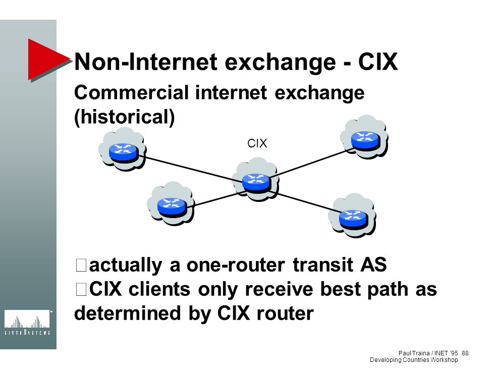 Paul Traina / INET '95 Developing Countries Workshop Non-Internet exchange - CIX Commercial internet exchange (historical) actually a one-router trans