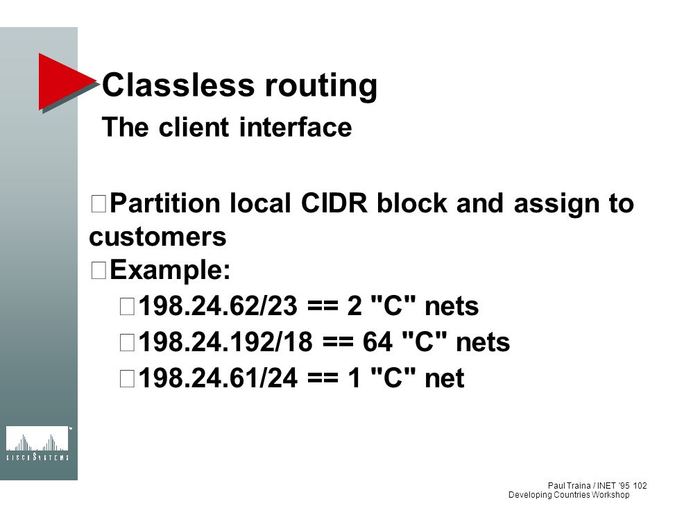 Paul Traina / INET '95 Developing Countries Workshop Classless routing The client interface Partition local CIDR block and assign to customers Example