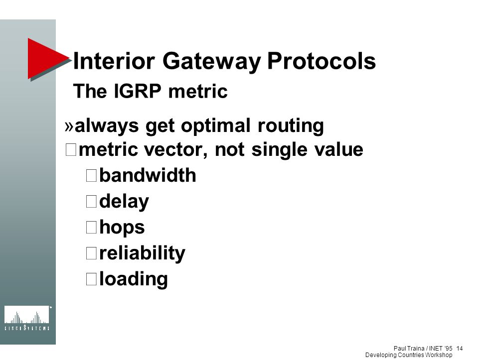 Paul Traina / INET '95 Developing Countries Workshop Interior Gateway Protocols The IGRP metric always get optimal routing metric vector, not single v