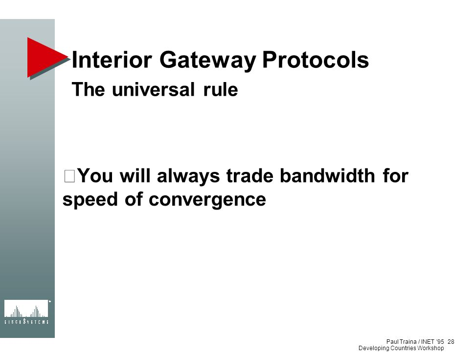 Paul Traina / INET '95 Developing Countries Workshop Interior Gateway Protocols The universal rule You will always trade bandwidth for speed of conver