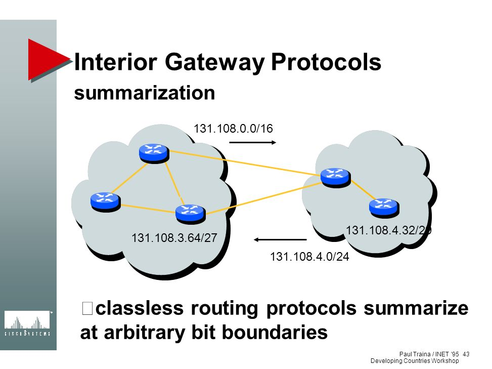 Paul Traina / INET '95 Developing Countries Workshop Interior Gateway Protocols summarization classless routing protocols summarize at arbitrary bit b