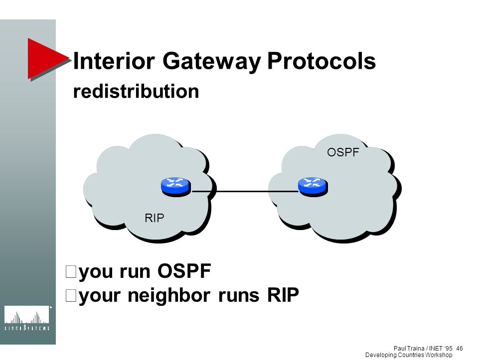 Paul Traina / INET '95 Developing Countries Workshop Interior Gateway Protocols redistribution 46 you run OSPF your neighbor runs RIP RIP OSPF