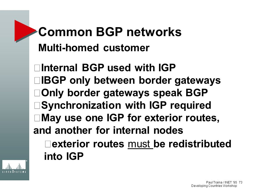Paul Traina / INET '95 Developing Countries Workshop Common BGP networks Multi-homed customer Internal BGP used with IGP IBGP only between border gate