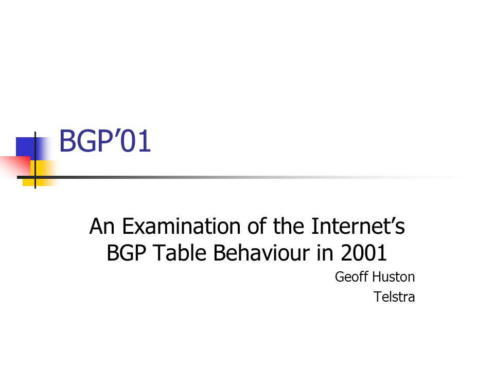 BGP01 An Examination of the Internets BGP Table Behaviour in 2001 Geoff Huston Telstra